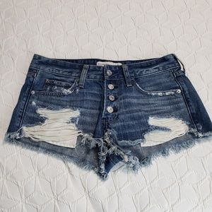 Abercrombie & Fitch Distressed Button Fly Shorts